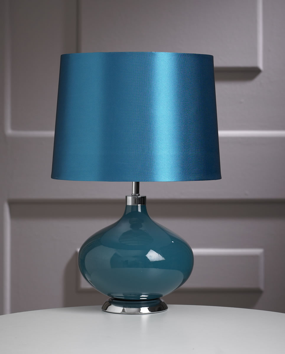 Contemporary Teal Ceramic Marilyn Round Base Table Lamp