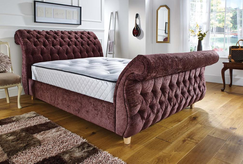 signature chesterfield buttoned curved velvet fabric sleigh bed frame
