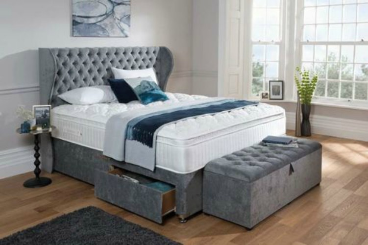 new solitaire wing headboard u0026 divan bed with drawers